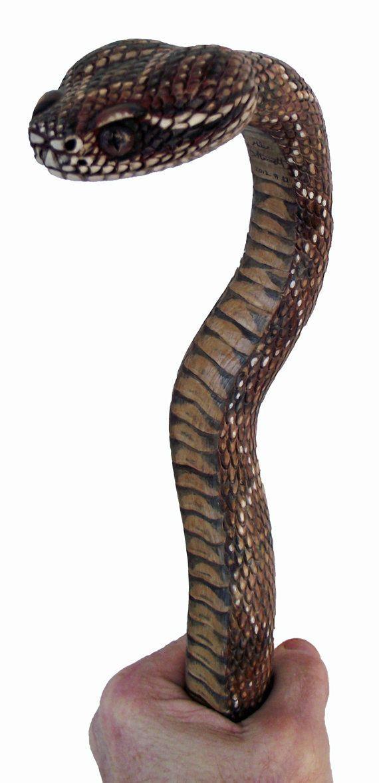 Fancy snake carved walking stick