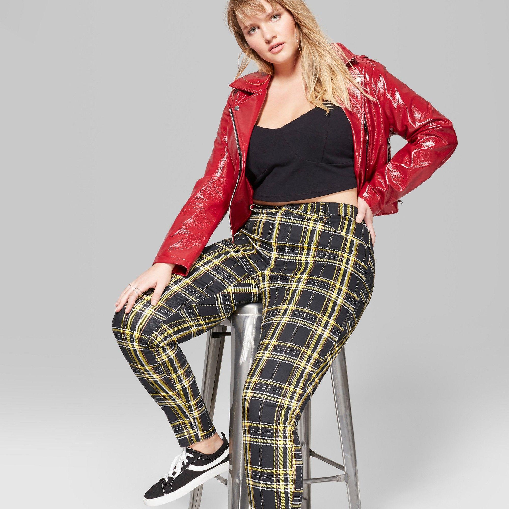 14e720159c Women s Plus Size Plaid Mid-Rise Skinny Jeans - Wild Fable Black Yellow 24W