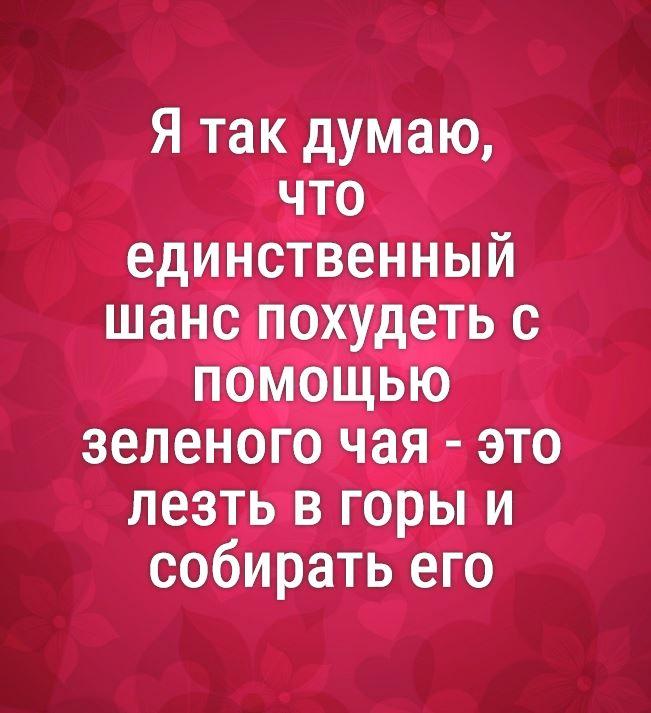 Ya Tak Dumayu Chto Edinstvennyj Shans Pohudet S Pomoshyu Zelenogo Chaya Eto Lezt V Gory I Sobirat Ego Yumoristicheskie Citaty Citaty Smeshno