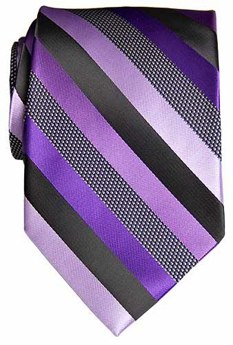 Purple Tie, Diagonal Purples with Matching Purple Handkerchief