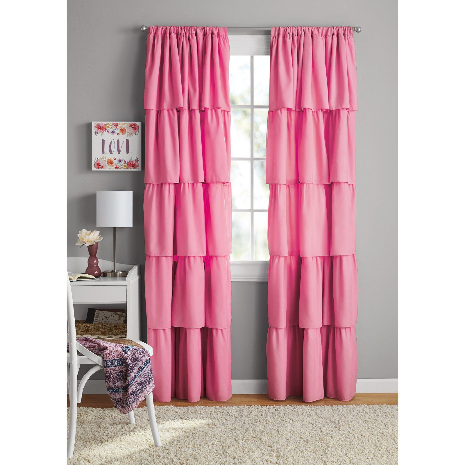 Your Zone Ruffle Girls Bedroom Curtain Berry | Products in ...