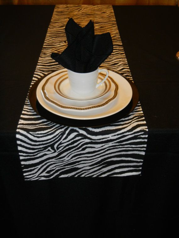 Animal Print Table Runner, Black And White Zebra Print, Wedding, Bridal  Shower, Baby Shower, Party, Wedding, Home Decor, Custom Sizes