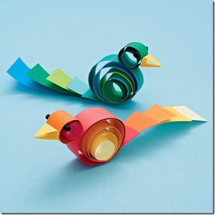 Pajaritos Hechos Con Tiras Artesanías De Aves Manualidades De Papel Para Niños Manualidades
