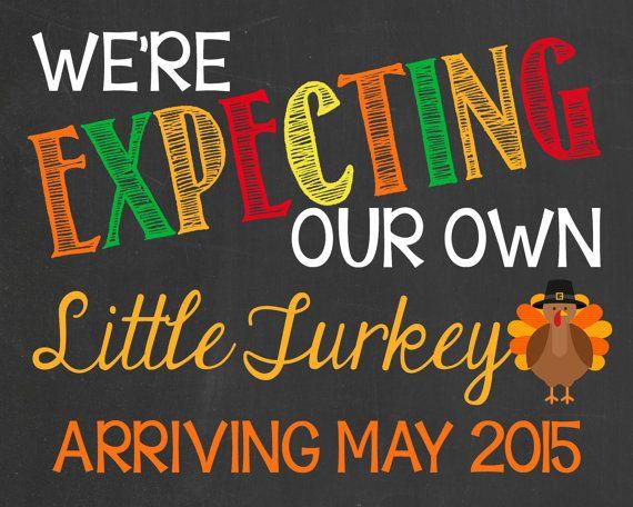 Thanksgiving Themed Pregnancy Announcement Chalkboard Autumn