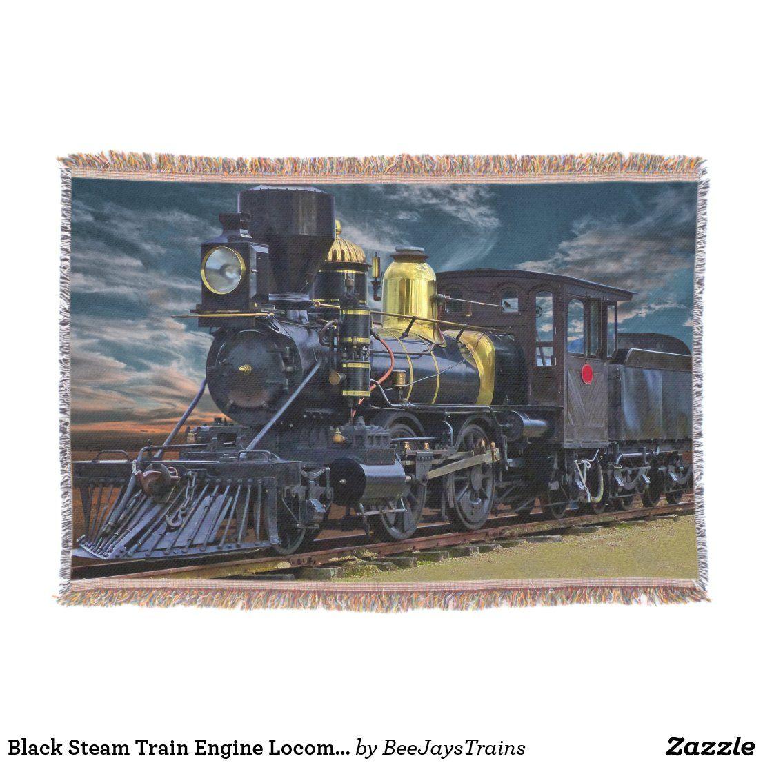 Black Steam Train Engine Locomotive Railroad Throw Blanket Zazzle Com Train Engines Locomotive Steam Trains