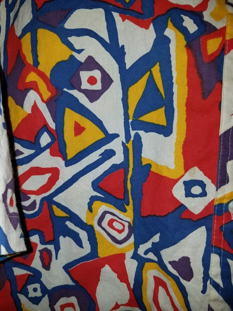 424f756ed499 Vtg 80 s Modern Pop Art Wild Camp Hawaiian Style 100% Cotton XL Shirt Pro  Spiri