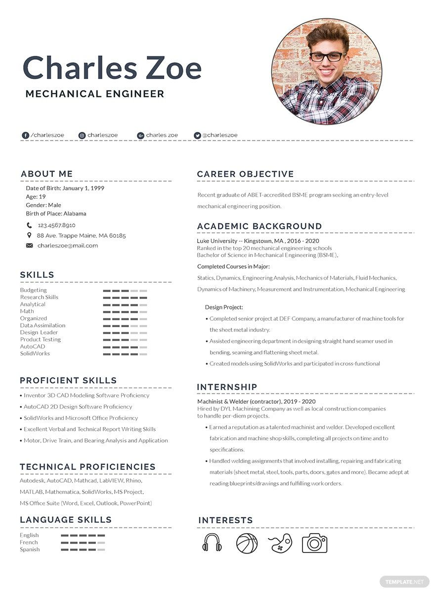 Free Mechanical Engineer Fresher Resume in 2020