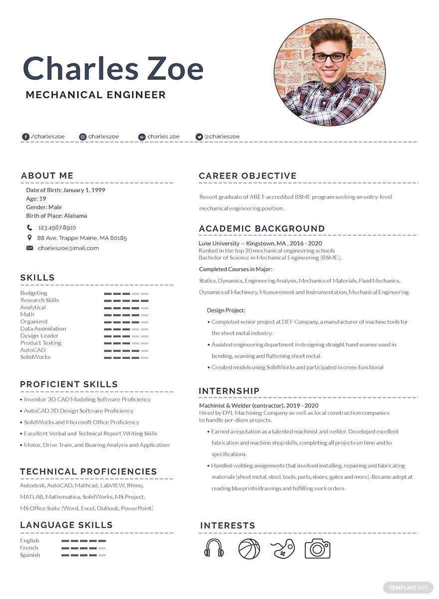 Fresher Resume format Mechanical Engineer Pdf
