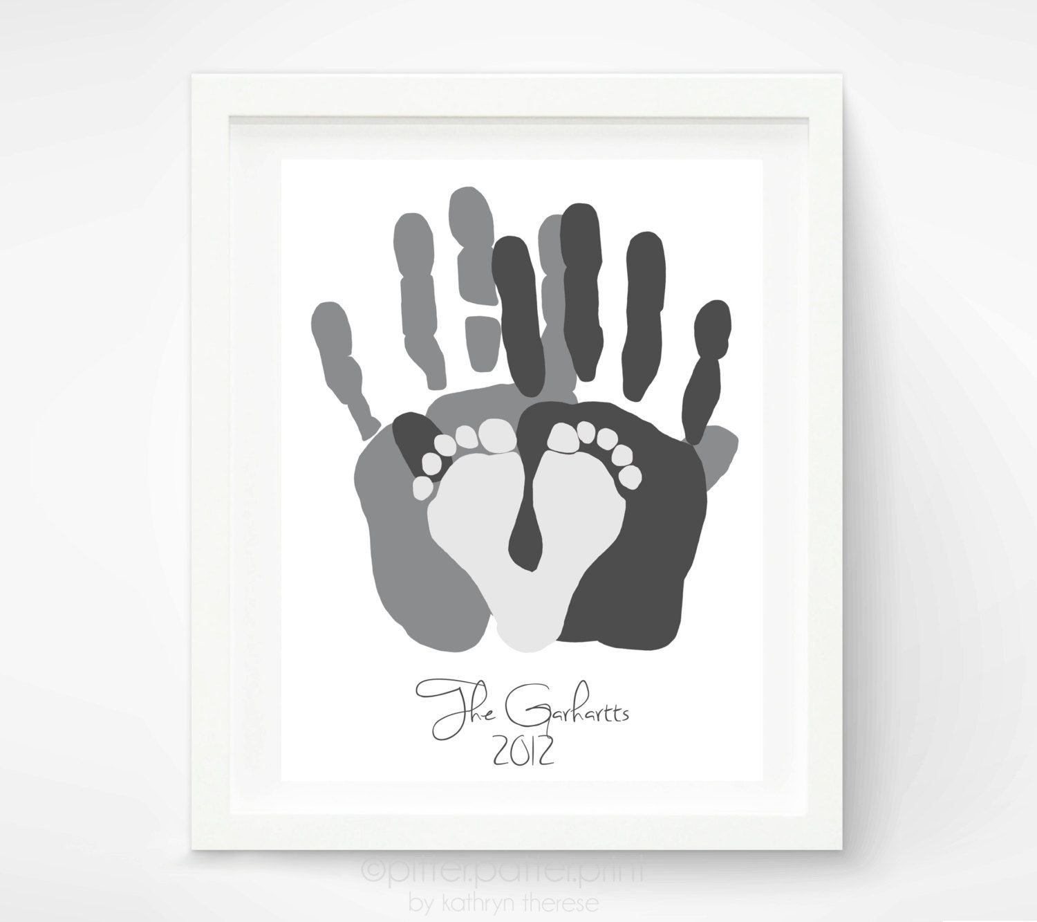 Personalized family portrait gift for new dad first fathers personalized family portrait gift for new dad first fathers day gift baby footprint negle Gallery