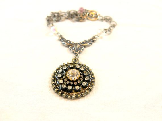 Rhinestone Necklace  by Objectsandoddities on Etsy