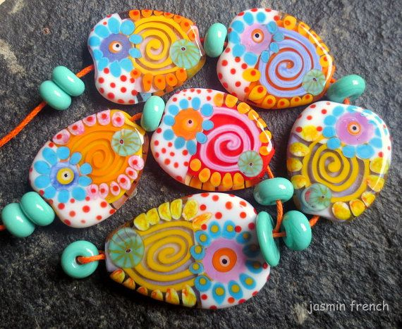 jasmin french 'summer in a village' lampwork beads by jasminfrench, $100.00