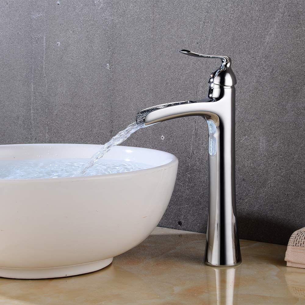 Wovier Chrome Waterfall Bathroom Sink Faucet Single Handle Single