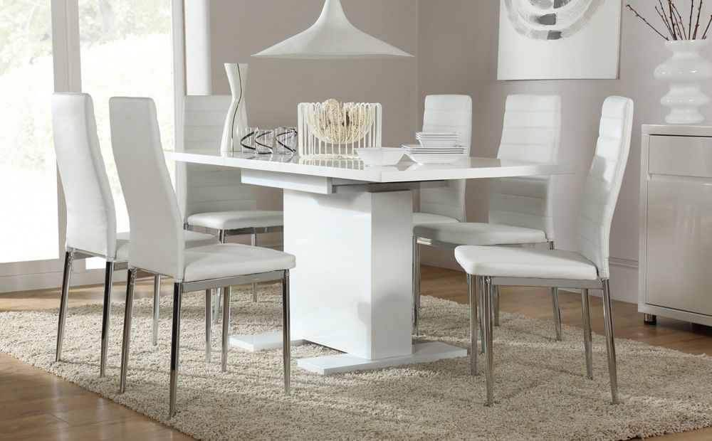 Osaka White High Gloss Extending Dining Table And 6 Chairs Lunar Chrome