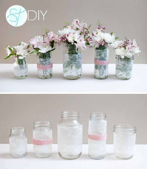 inexpensive wedding table centerpieces | Mason jars covered in ...
