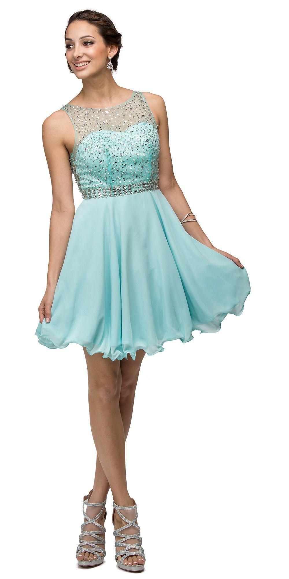 Blush boat neck sheer beaded back illusion homecoming dress