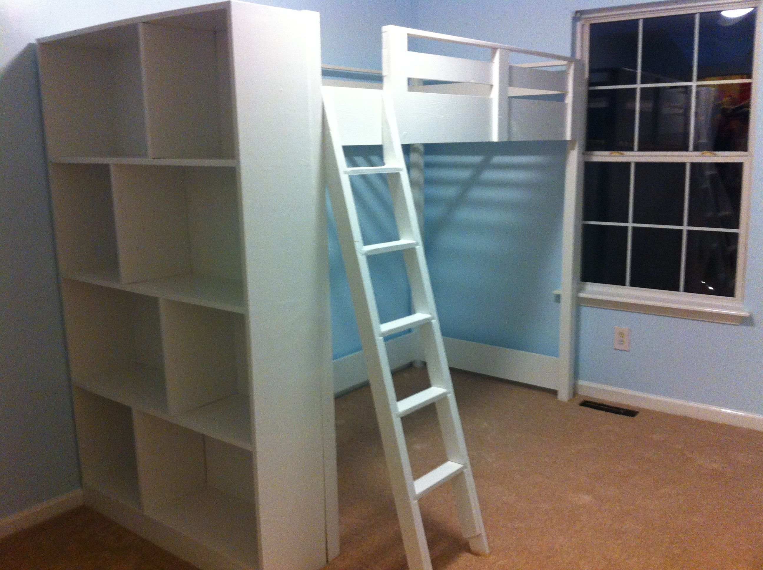 Plywood loft bed plans  The loft bed plans found at Anawhite and book shelf we
