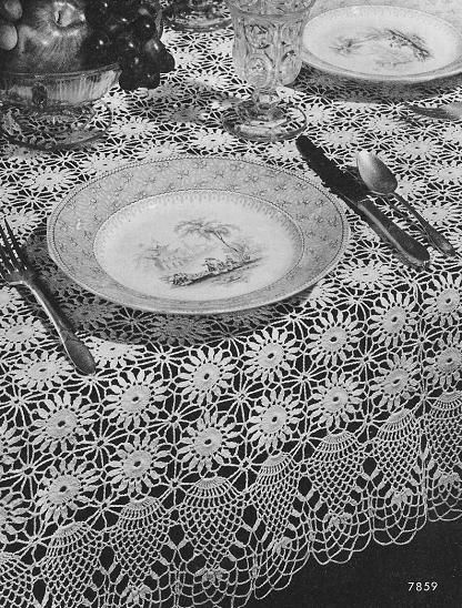 Crochet Pineapple Tablecloth 7859 Grandmothers Pattern Book