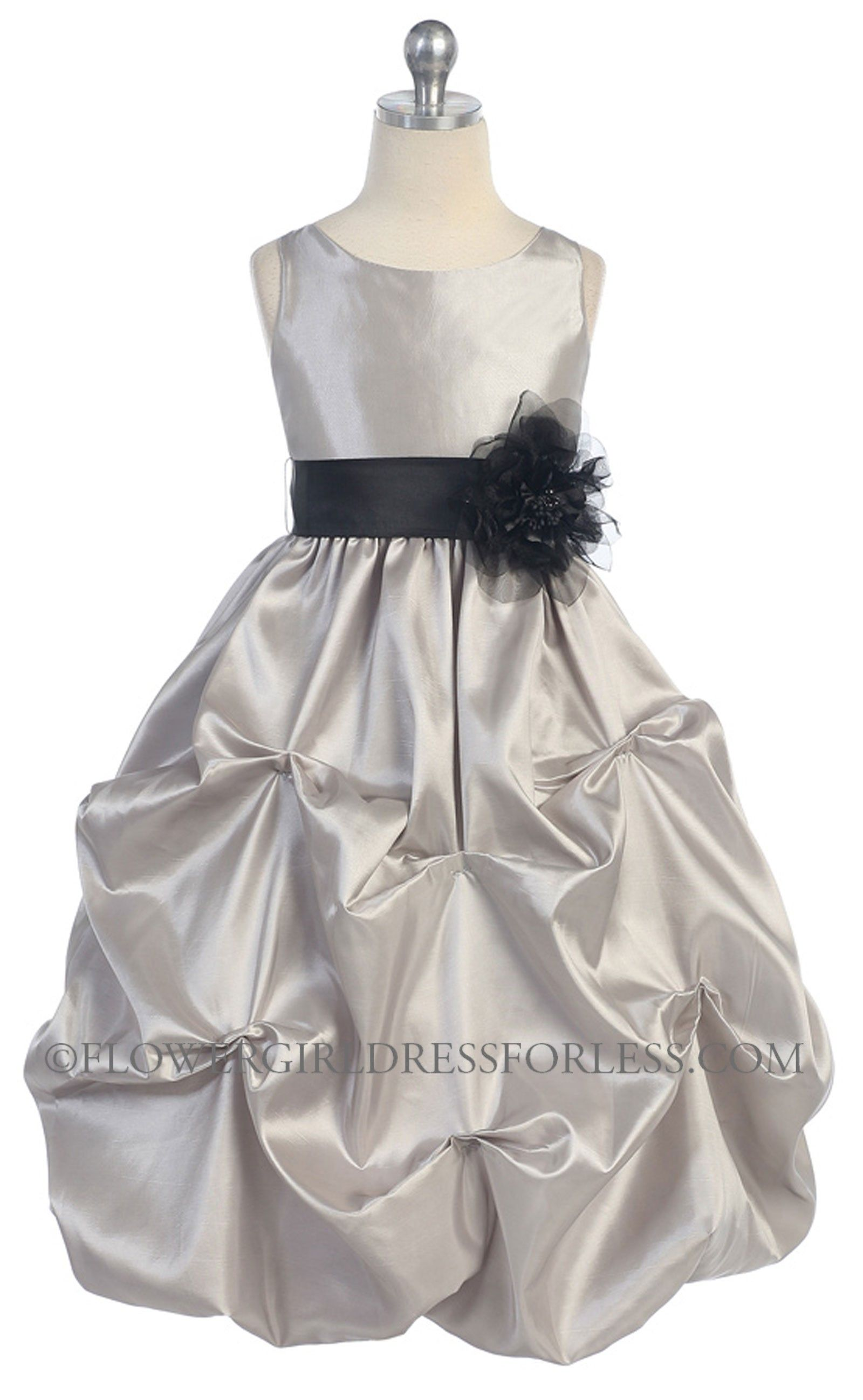 CA_B599SV - Girls Dress Style 599 - SILVER Dress with Choice of 70 ...