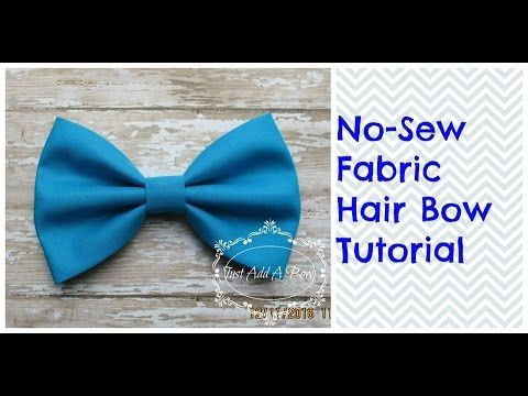 HOW TO: Make a 5 No Sew Fabric Hair Bow by Just Add A Bow - YouTube #fabricbowtutorial