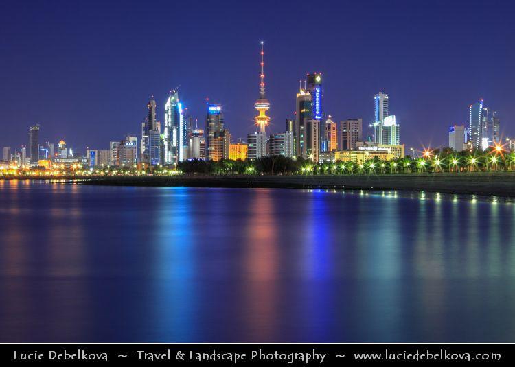 Kuwait Kuwait City Skyline Reflected During Blue Hour City Skyline Kuwait City City