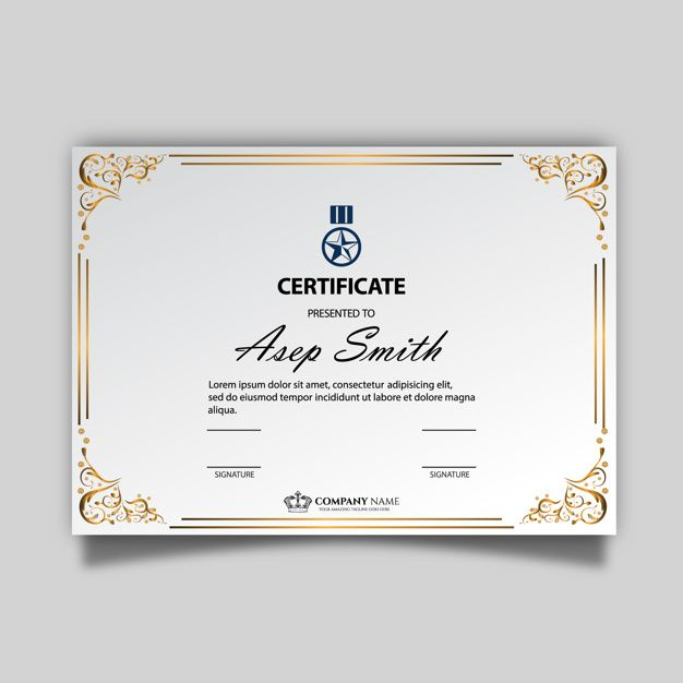 Free elegant certificate with golden ornament Certificate - certificate template