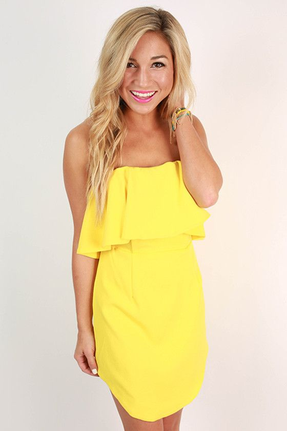 Rhythm & Ruffles Strapless Dress in Yellow | Giallo, Prodotti di ...