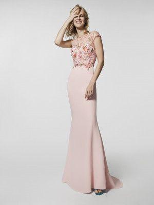 5977e292e Vestido de fiesta rosa pálido - Vestido largo GRAFITO - manga corta ...