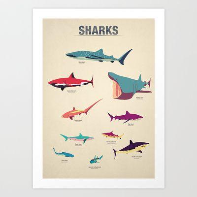 Sharks Art Print by Simon Alenius - $19.00 | Proyectos que intentar ...