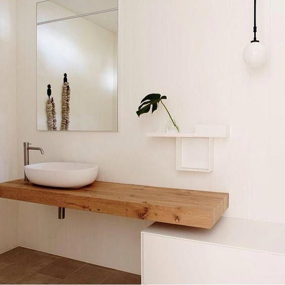 Timber topped vanity with white round basin brushed chrome tap and mixer Visit our website for more au