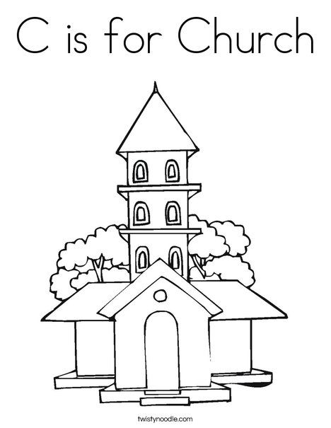 C is for Church Coloring Page from TwistyNoodle.com | Sunday school ...