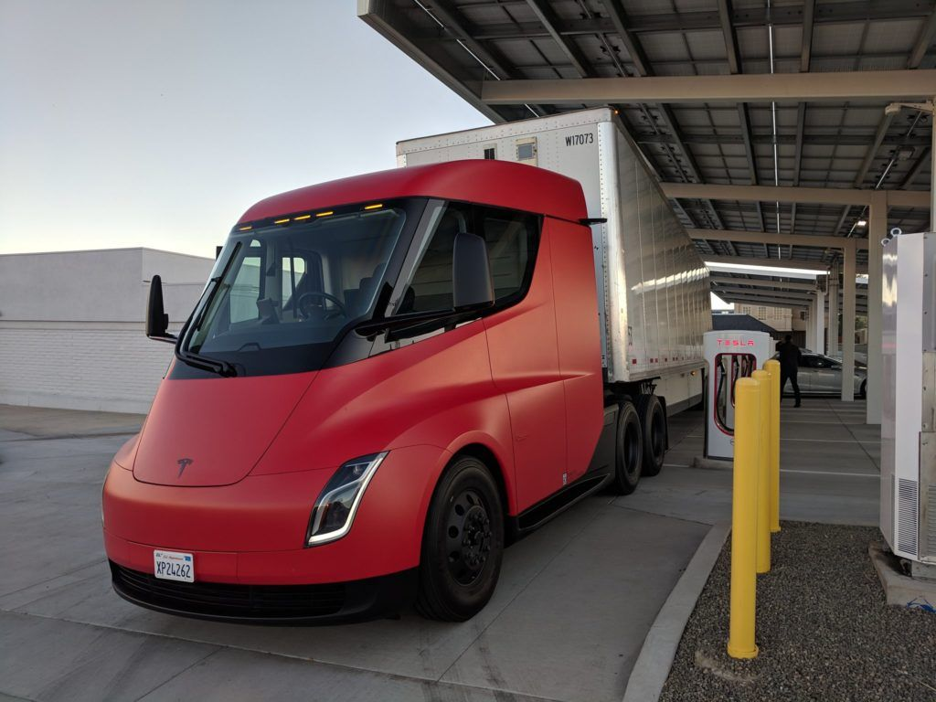 We Present To You The Red Tesla Semi Truck Hd Photos Tesla All Electric Truck Semi Trucks