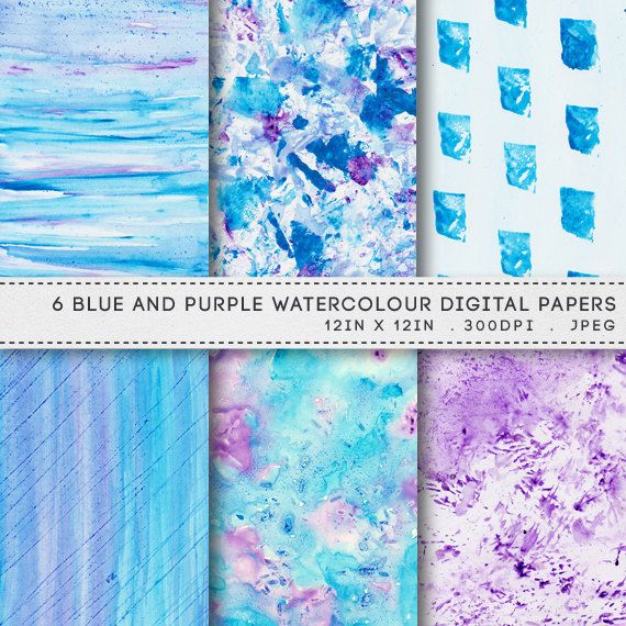 photograph about Printable Watercolor Paper named Printable Blue Pink Watercolour Paper Pack Watercolor