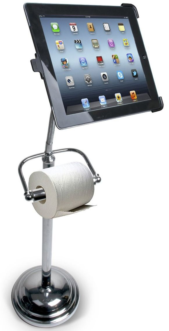Toilet Paper Holder For Techies It Doubles As A Bathroom Ipad Stand