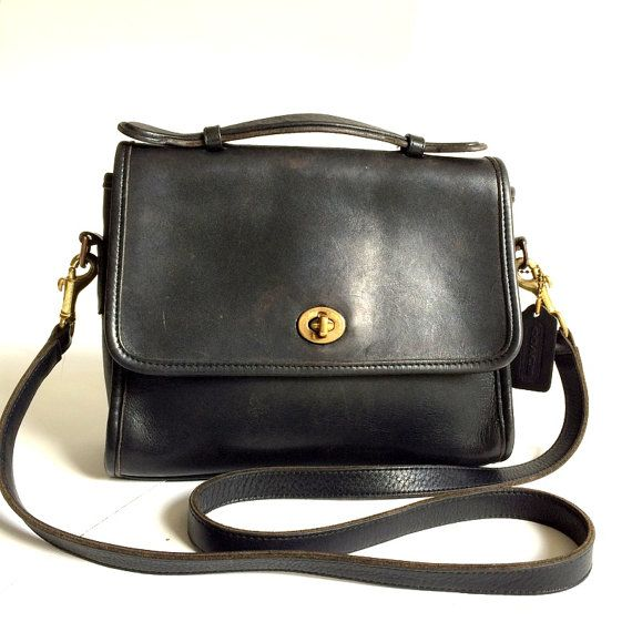 Vintage Classic Coach  9870 Black Crossbody Court Bag Made in usa ... 5496dac89ee39
