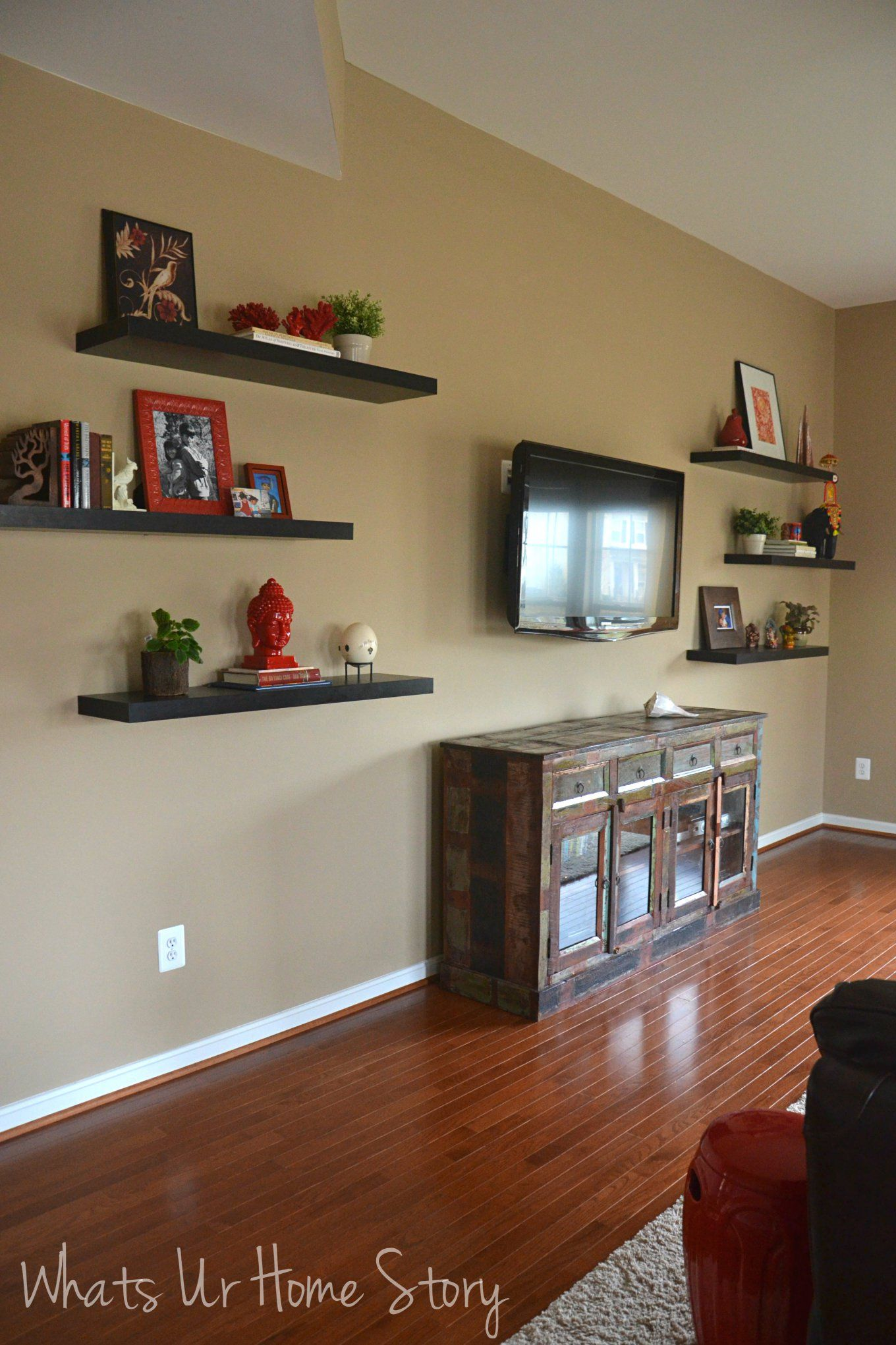 how to decorate around a tv with floating shelves buffet. Black Bedroom Furniture Sets. Home Design Ideas