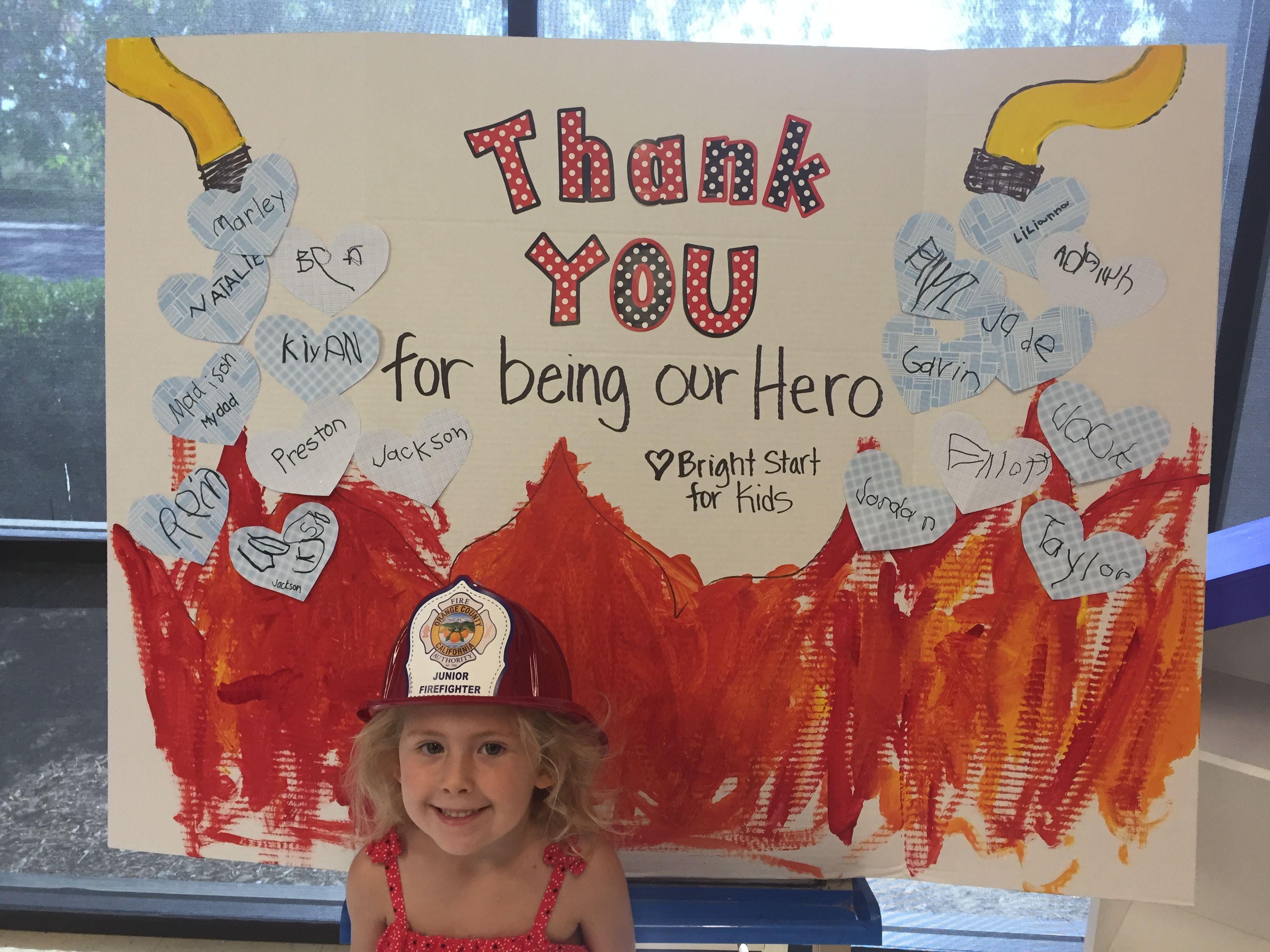Card Firefighter Visit Bright Start Kids Fire Safety Week Community