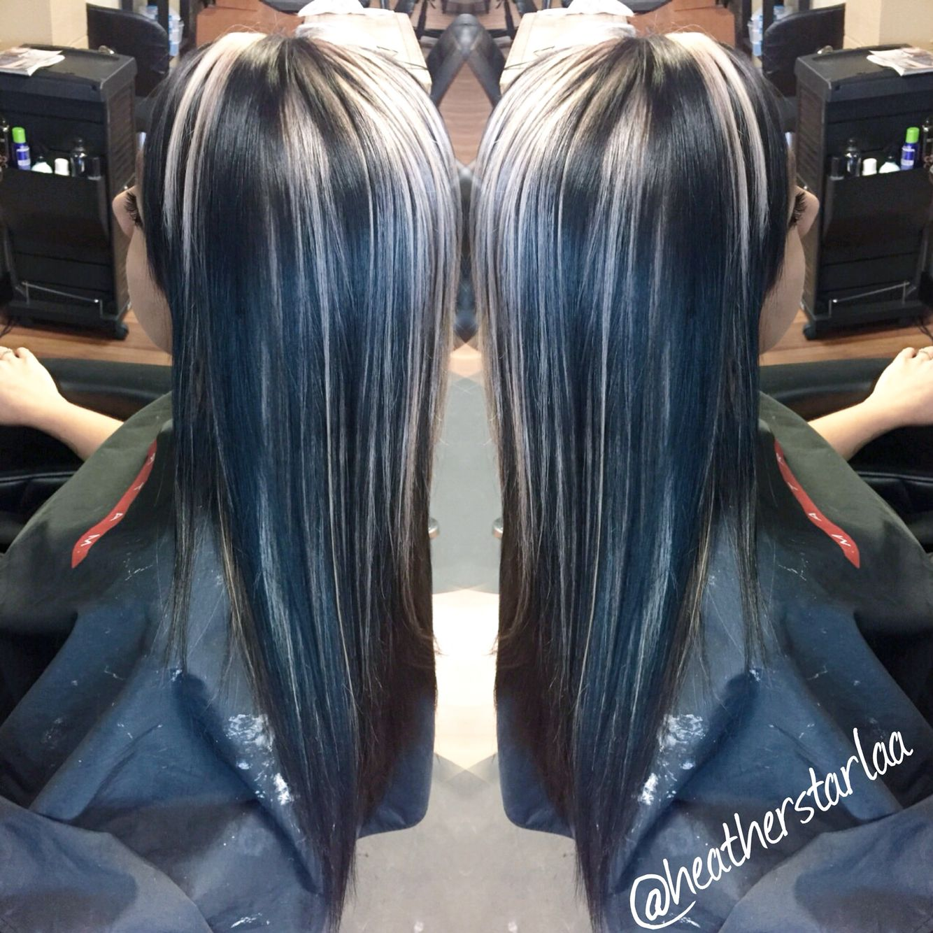 All over black hair with chunky platinum blonde highlights ...