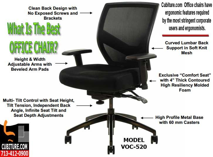 celesse office chair w/ mesh back and adjustable lumbar support
