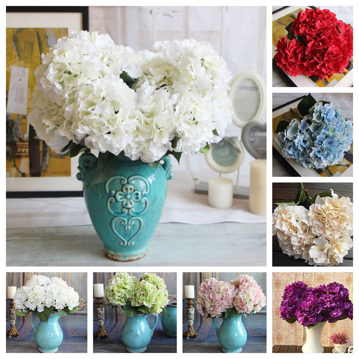 New artificial hydrangea silk bouquet 5 flower heads wedding garden artificial hydrangea silk bouquet 5 flower heads wedding garden bridal decor mightylinksfo