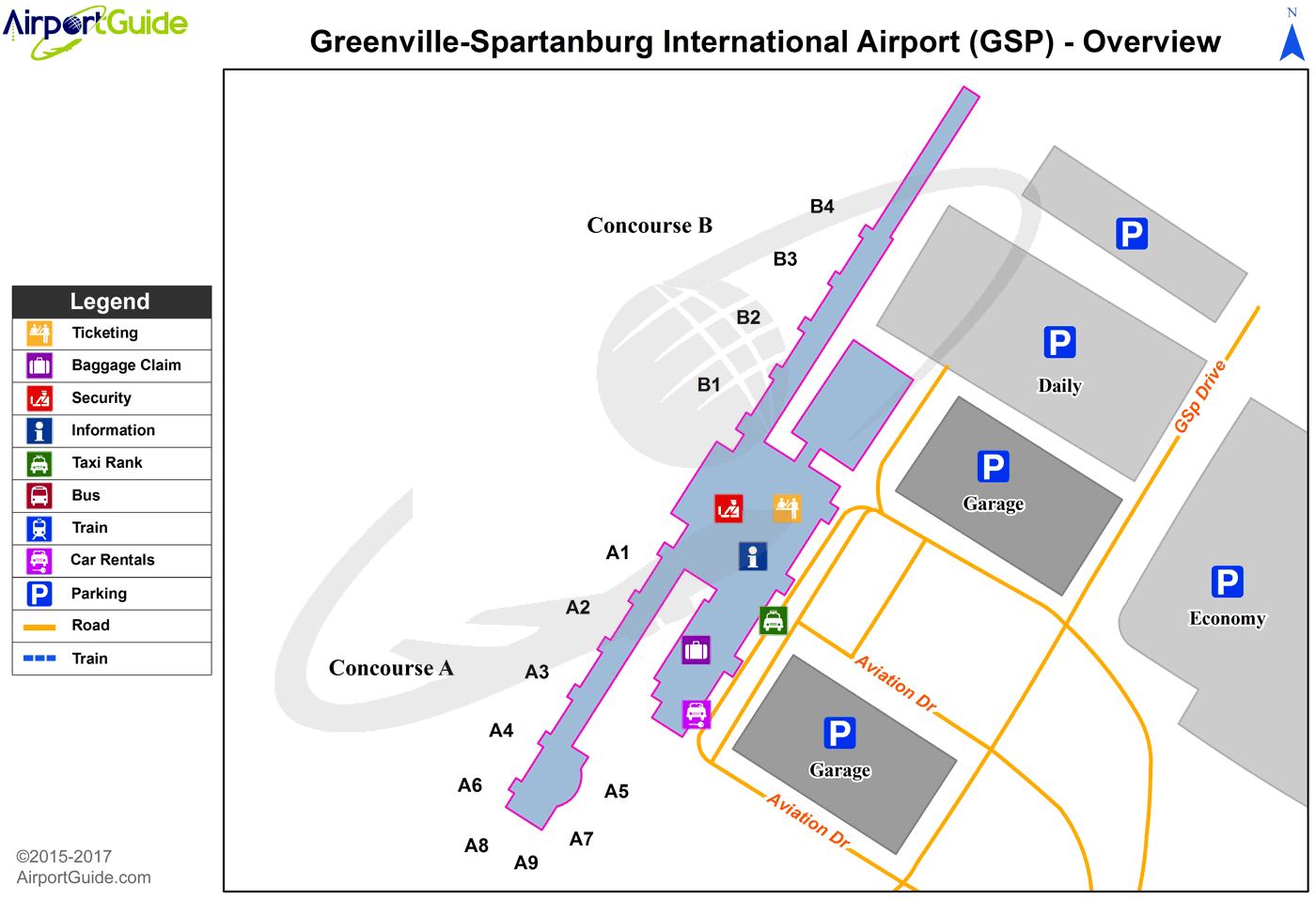 greer  greenville spartanburg international (gsp) airport terminal map overview. greer  greenville spartanburg international (gsp) airport