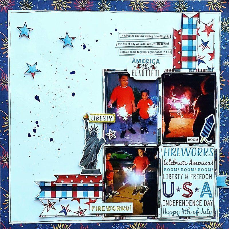 America The Beautiful Scrapbook Com Beautiful Scrapbook Layouts Simple Stories Scrapbooking Patriotic Banner