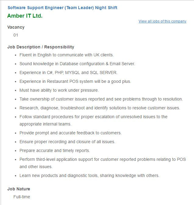 Career  Amber It Ltd  Position Software Support Engineer Team