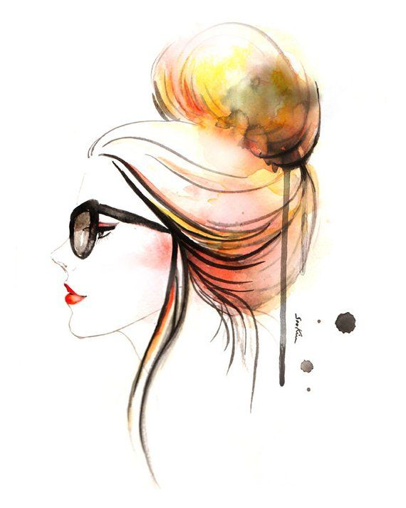 Fashion illustration art print - Girl s Profile in Eye Glasses, Updo Hair  High Bun Watercolor e374f7d11d4c
