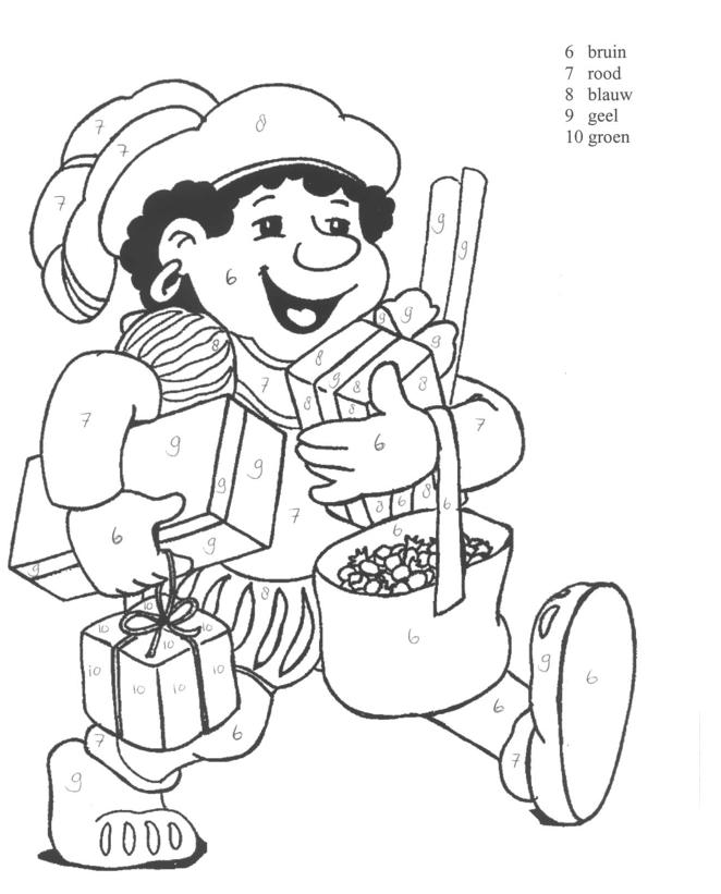 Kleurplaten Inkleuren Met Cijfers.Werkblad Cijfers Kleuren Sinterklaas Zwarte Piet En