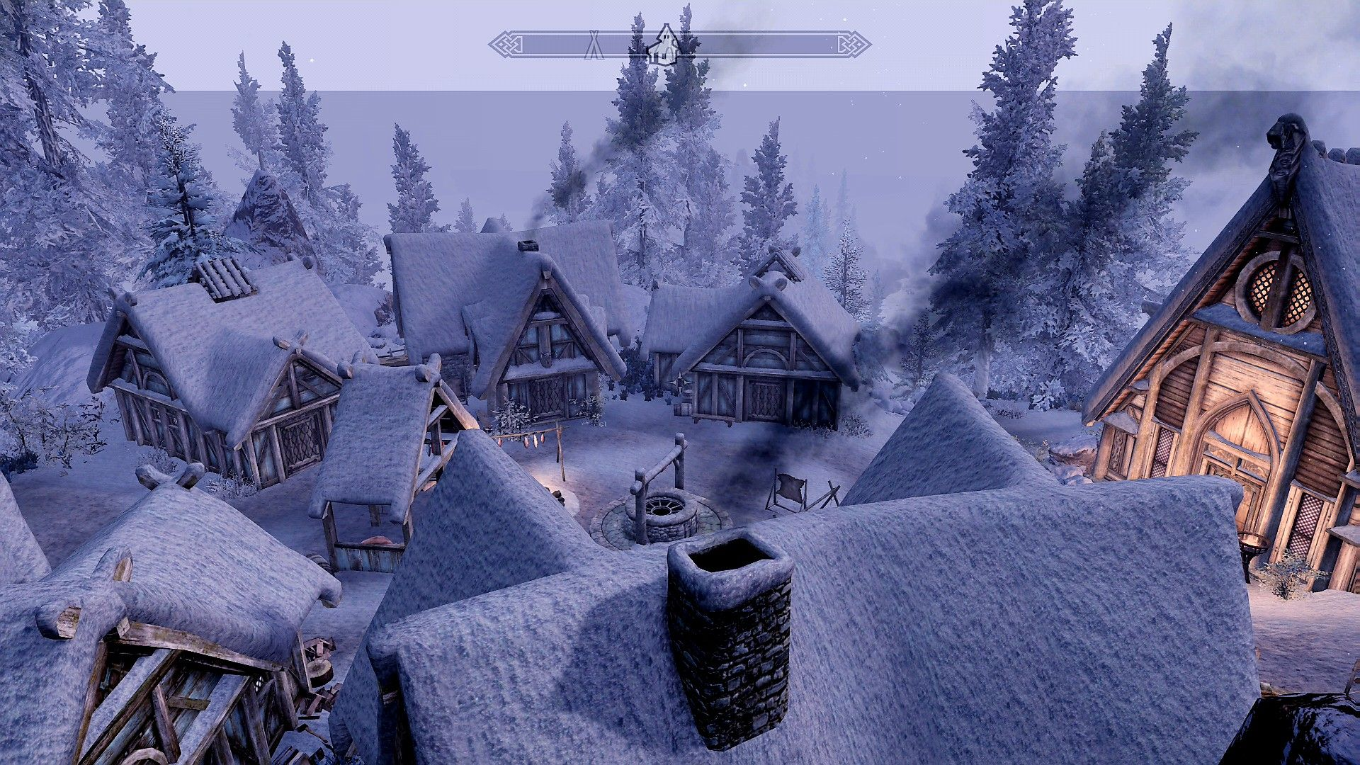 Skyrim Embla Ysmir Ericsdotter at the Skaal village in