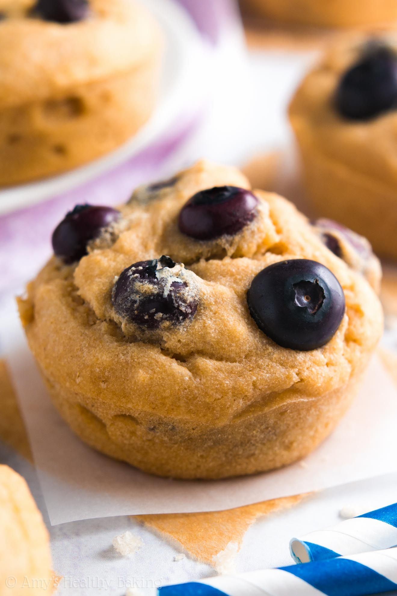 These skinny muffins have the same texture as cupcakes -- they don't taste healthy at all! You'll never need another blueberry muffin recipe again!