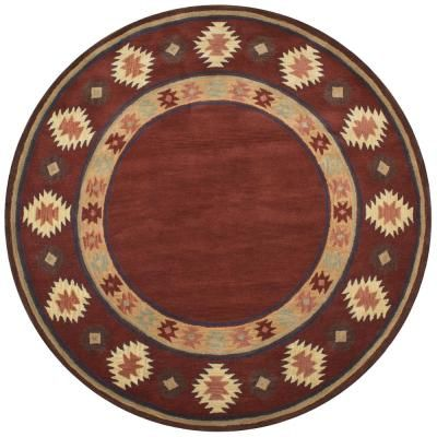 Ryder Burgundy 10 Ft X 10 Ft Round Native American Tribal Area Rug Rydry1006007010rd Wool Area Rugs Round Area Rugs Colorful Rugs