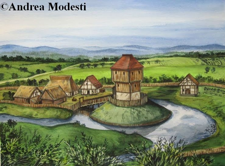 Western Motte And Bailey Medieval Motte And Bailey Castle Illustration Motte And Bailey Castle Fantasy City