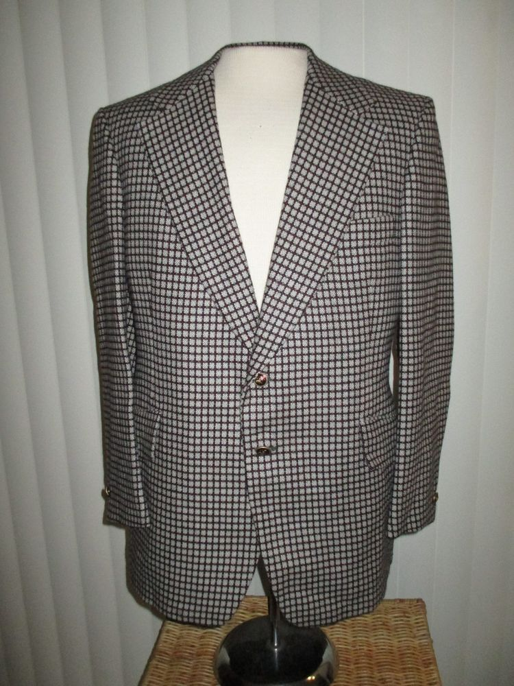 c8cb1bc7e 70s vintage wool plaid BLAZER size 40 FUNKY MOD lapels ENGLISH UK DANDY  BESPOKE