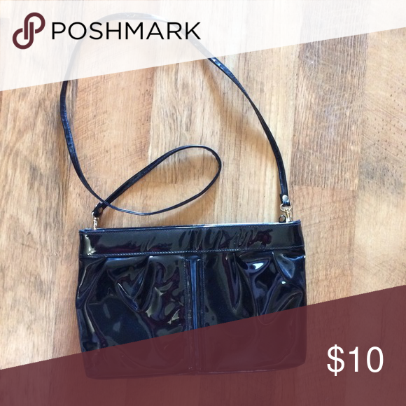 Black faux leather crossbody/clutch. Faux black leather crossbody or use as a clutch. Bags Crossbody Bags